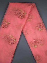 Pink Net Embroidery Fabric.