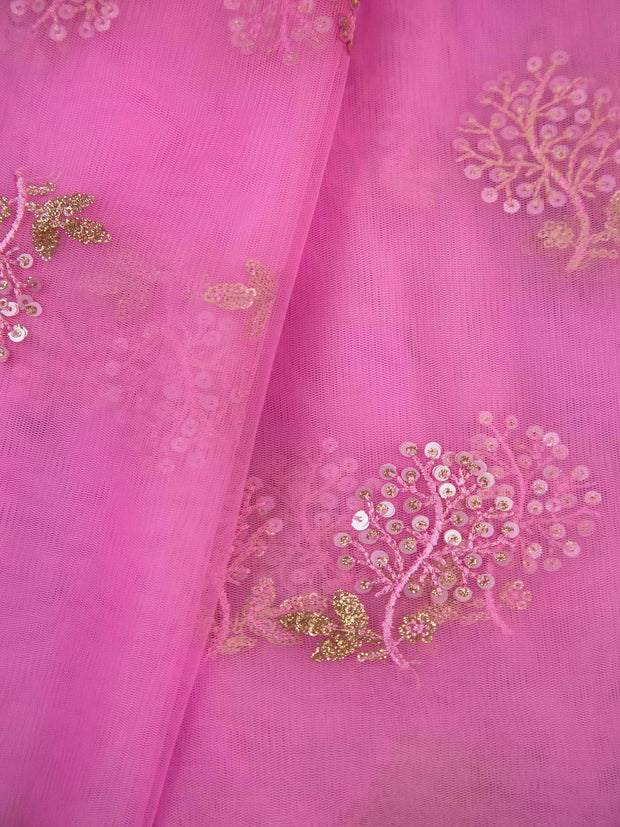 Neon Pink Net Embroidery Fabric.