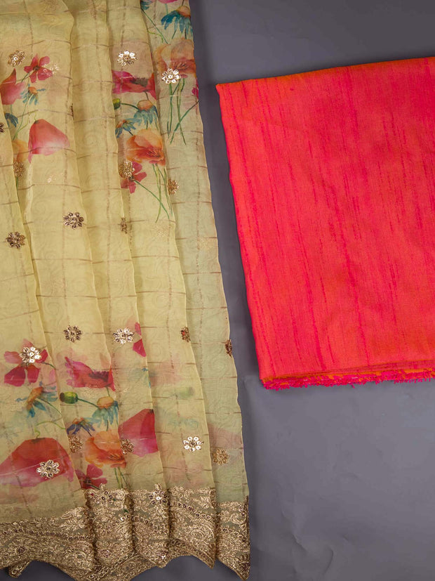 Organza Digital Printed Saree + Raw Silk Blouse