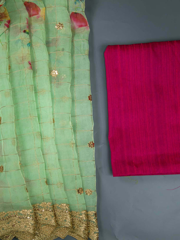 Green Organza Digital Printed Saree + Raw Silk Blouse