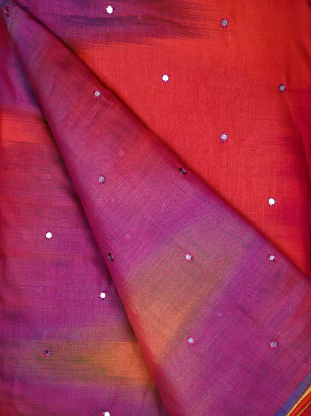 Chanderi Silk Mirror Work Fabric