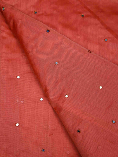 Mirror Work Chanderi Silk Plain Fabric
