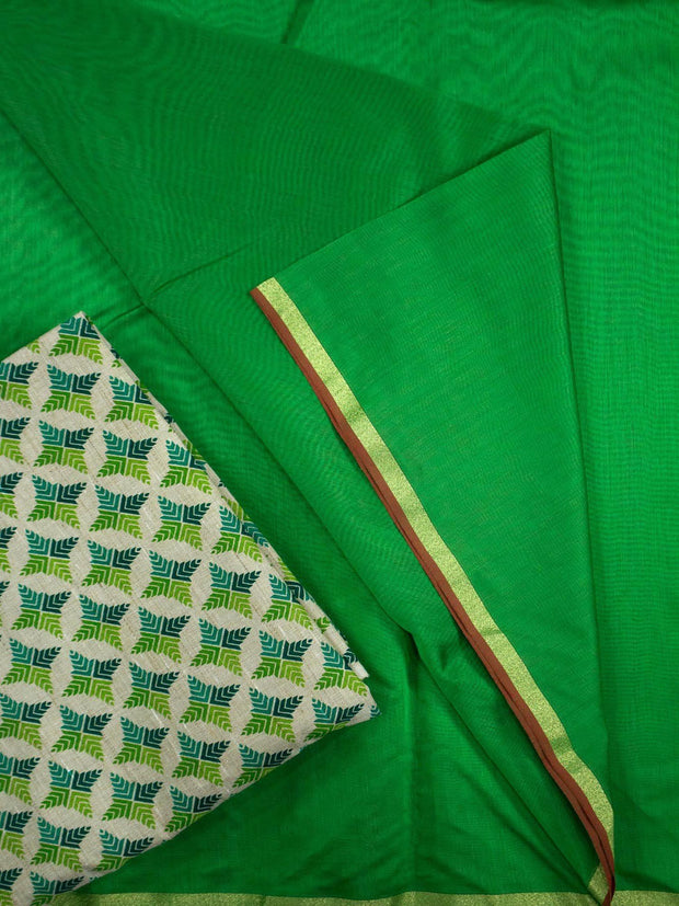 Mono Chanderi Silk Saree Set With Cotton Blouse
