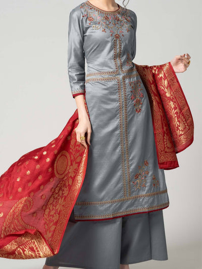 Pure Chanderi Semi Stitch Masakali Suit Set