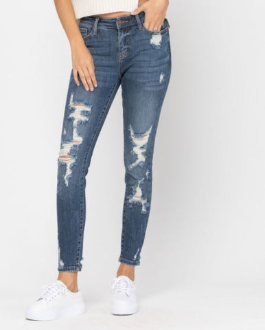 Judy Blue Mid-Rise Heavy Distressed Skinny
