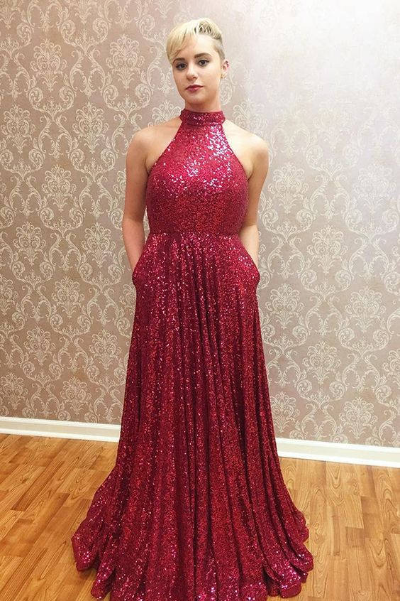 sparkling prom party dresses, elegant halter evening gowns, cheap ...