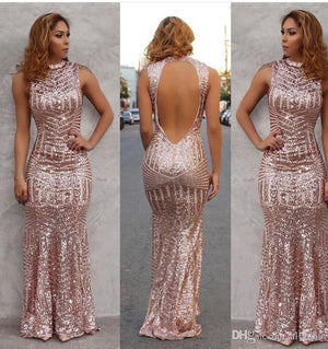 rose gold mermaid evening dress,sequins prom dress,striped sequins dress,open back dress,sparkly dress,sequin gowns MT20187710