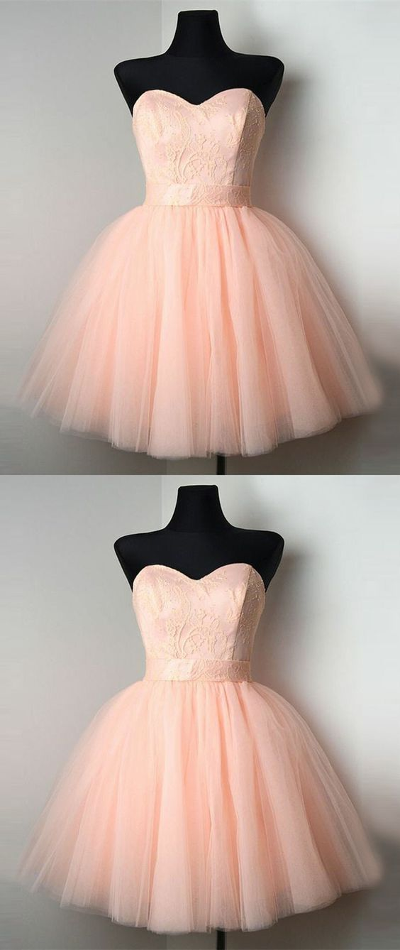 pink sweetheart homecoming party dresses, chic a-line fashion gowns ...