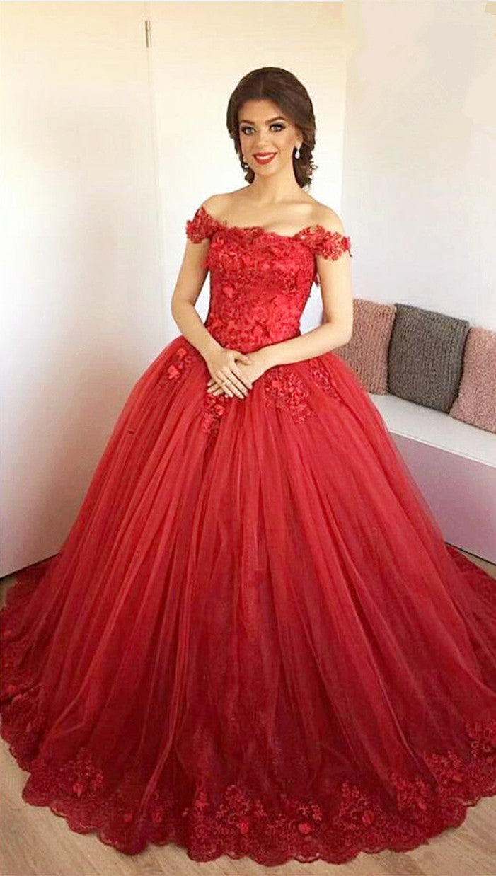 Lace Embroidery Sweetheart Tulle Ball Gowns Prom Dresses Elegant ...