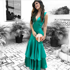 Elegant Green Satin V Neck Mermaid Prom Evening Gown Dresses With