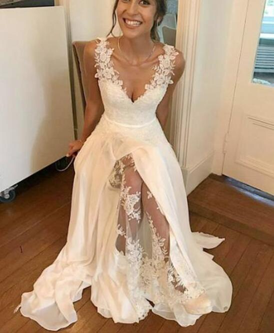 White Chiffon and Lace Straps Long Party Dresses, Cute Floor Length ...