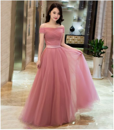 Off Shoulder Dusty Pink Gowns,Long Formal Dresses, Lace-up Prom ...