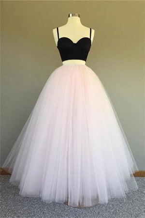 Pink Tulle Prom Dresses A Line Long Sleeveless Evening Dresses Two