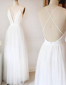 White Tulle Prom Dresses Long A-line Sleeveless Evening Dresses V Neck Formal Gowns Sexy Backless Party Pageant Dresses for Teens Girls MT20188798