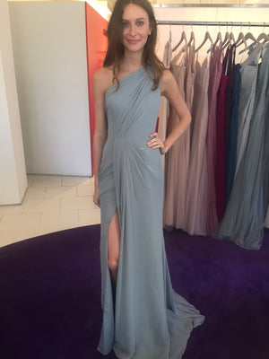 Gray Chiffon Prom Dresses Long A Line Simple One Shoulder Evening