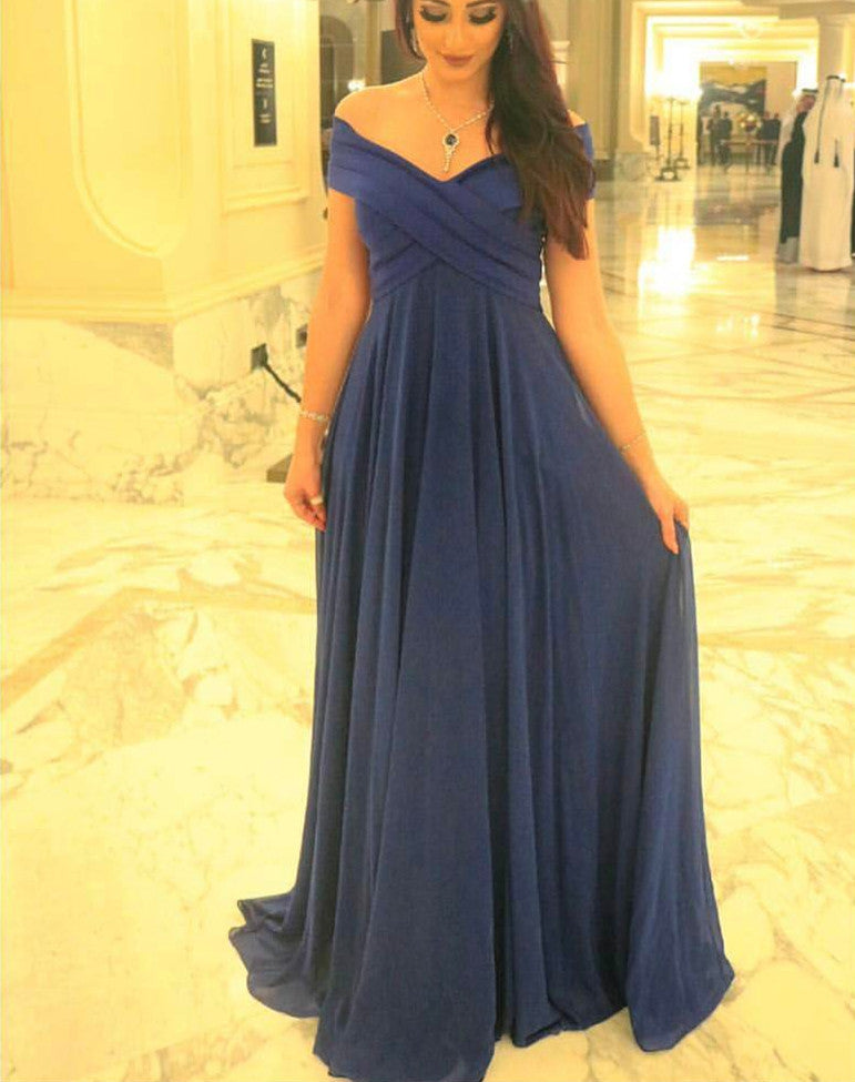 Pretty Chiffon Off Shoulder Long Prom Dresses, Long Simple Party ...