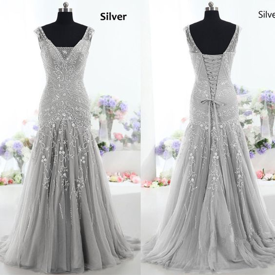 Gorgeous Mermaid Long Tulle Prom Dress Evening Dress With Lace Up