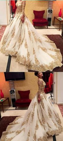 Gold Prom Dresses With Lace,Long SleevesWedding Dresses, V-Neck Prom Gown,Beading Prom Dresses With Chapel Train,Ball Gown Wedding Dresses MT20189972
