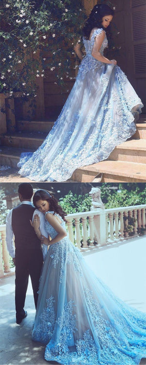 chic light blue floral lace flower long tulle prom dresses 2018 ...