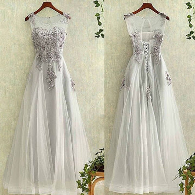 Long Prom Dress Lace Up Back Prom Dress Tulle Prom Dress Formal