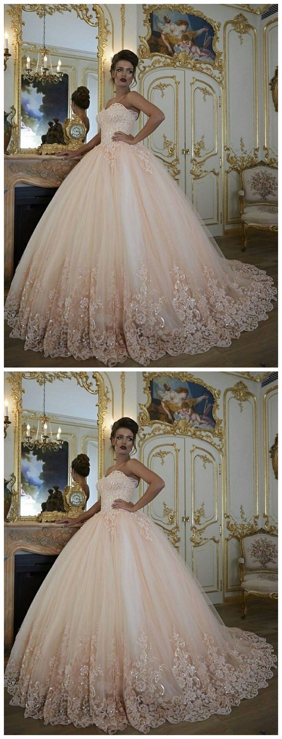 Pink Prom Ball Gown Prom Dresses Lace Applique Prom Dress Puffy