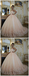 Pink Prom Ball Gown, Prom Dresses , Lace Applique Prom Dress, Puffy Prom Dress, Elegant Prom Dress, Beaded Prom Dress, Sparkly Prom Dress, Luxury Wedding Dress, Affordable Prom Dress M0357