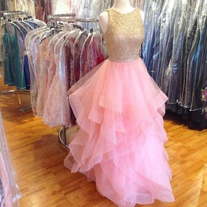 Ruffles Pink Organza Prom Dress Sale Dresses Modest