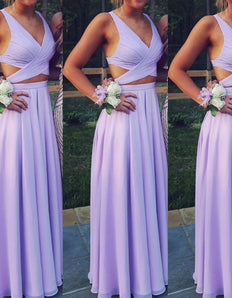 Beautiful Lavender Two Piece Chiffon Prom Dresses, Long Two Piece Party Dresses, Evening Dresses M0393