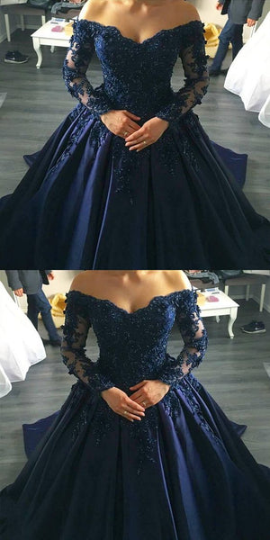 Navy Blue Lace Appliques Long Sleeves Ball Gowns Wedding Dresses Off Shoulder M0434