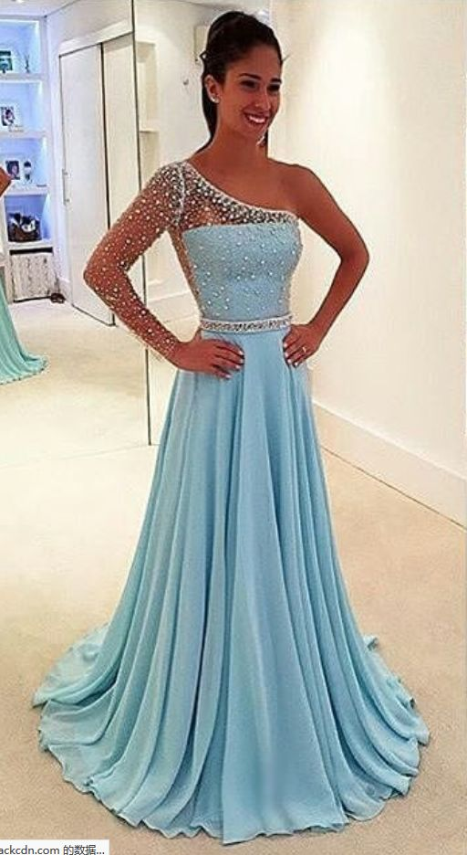 Prom Dressesprom Gownlight Blue Prom Dressprom Dress One Shoulder