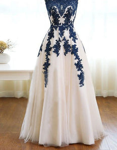 lace applique prom dress, long prom dress, A-line prom dress, tulle evening dress, A-line prom dress. M0695