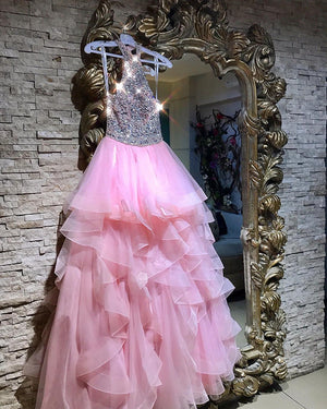 Crystal Beaded Pink Ruffles Tulle Prom Dresses New Style Dresses