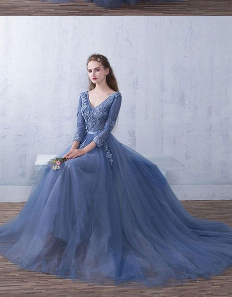 Blue tulle v neck lace long prom dress, blue bridesmaid dress M1072