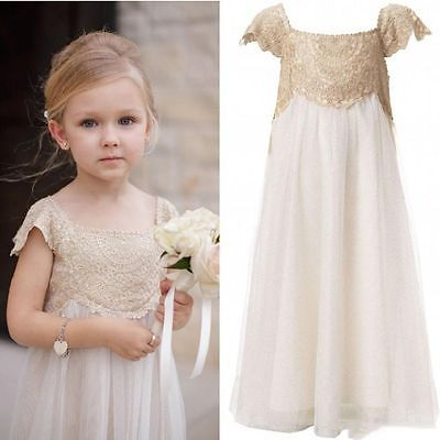 Vintage Flower Girl Dresses Champagne Lace Tulle First Communion Dresses Custom M1189