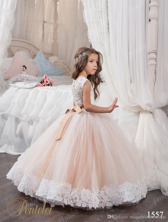 2018 Cheap Ball Gown Flower Girl Dresses Jewel Lace Appliques ...