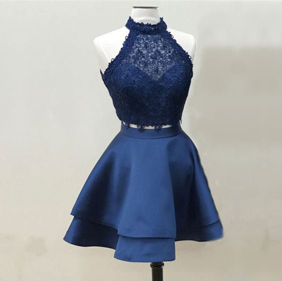 Sexy Two Piece Fuchsiadark Blue Short Prom Dresses Homecoming Dress
