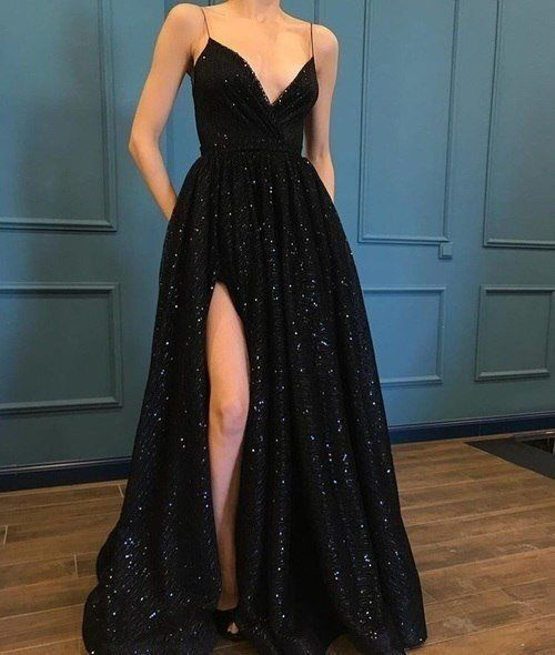 A Line Prom Dressblack Prom Gownspaghetti Strap Sparkly Evening
