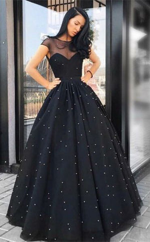 A-Line Round Neck Floor-Length Black Tulle Prom Dress with Pearls M2326