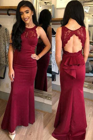 Mermaid Round Neck Open Back Burgundy Prom Dress With Lace Ruffles