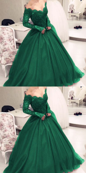 Illusion Scoop Neckline Lace Long Sleeves Emerald Green Prom Dresses