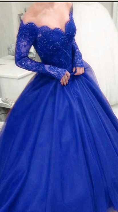 093d664be14a Ball Gown Prom Dresses Royal Blue Prom Dresses Long Sleeves Prom