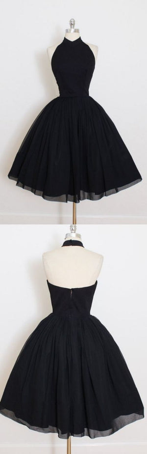 Nice Short Ball Gown Prom Dresses, Black Sleeveless With Pleated Mini Homecoming Dresses M3069