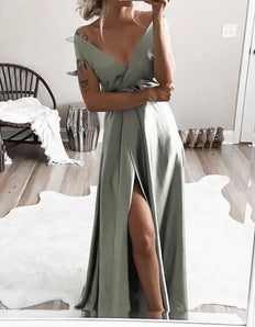 elegant off shoulder formal evening dresses, chic split prom gowns for special occasion M3092