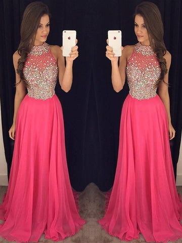 A-line High Neck Chiffon Tulle Sweep Train with Beading Nice Prom ...