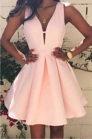 New Arrival Pink Homecoming Dress,Satin Short Prom Dress M3422