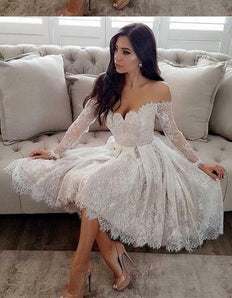 A-Line Off-the-Shoulder Long Sleeves Homecoming Prom Dress M4068