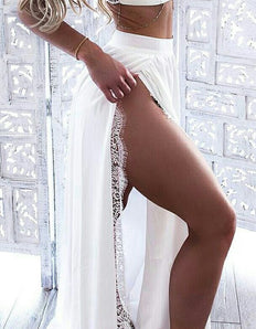 Two Piece Spaghetti Straps Floor-Length White Prom Dress with Lace M4345