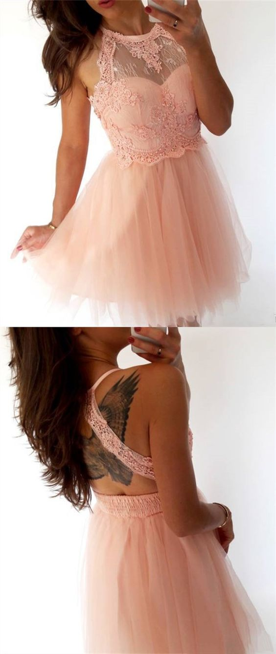 Vintage Pink Lace Short Homecoming Dress For Junior Open Back Tulle