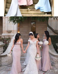 Simple Sweetheart Sweep Train Mermaid Bridesmaid Dress with Sash Ruffles Spaghetti Straps M4633