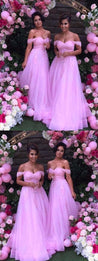 A-Line Princess Off-the-Shoulder Sleeveless Floor-Length Applique Tulle Bridesmaid Dresses M4635